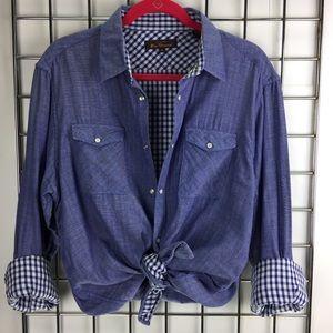 Chambray & Buffalo Plaid Button Down Shirt
